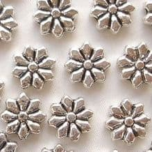 """Silver Plated """"Pewter"""" Beads 9 x 9mm Flower - 20"""