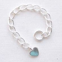 Sterling Silver 6cm Extender Chain with Flat Heart - 1