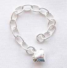 Sterling Silver 6cm Extender Chain with Puffed Heart - 1