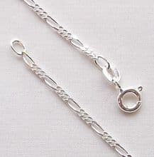 "Sterling Silver Chain 18"" (46cm) Light Figaro"