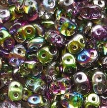 Superduo Beads Magic Violet Green - 10 grams