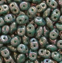 Superduo Beads Nebula Turquoise Green - 10 grams