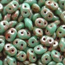 Superduo Beads Turquoise Green Picasso - 10 grams