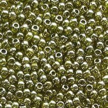 Toho 11/0 Seed Beads Gold Lustred Green Tea 457 - 10 grams