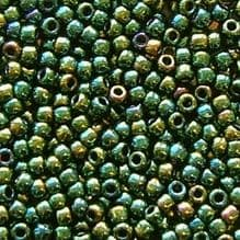 Toho 11/0 Seed Beads Higher Metallic Green Iris 507 - 10 grams
