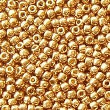 Toho 11/0 Seed Beads, Permanent Finish Galvanised Golden Fleece PF592 - 10 grams