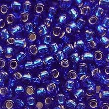 Toho 8/0 Seed Beads Silver Lined Cobalt 28 - 10 grams