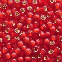 Toho 8/0 Seed Beads Silver Lined Frosted Ruby 25CF - 10 grams